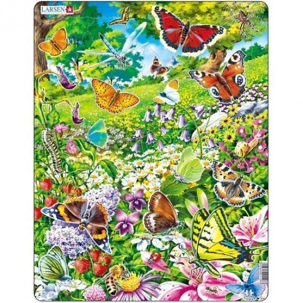 42 Parça Maxi Puzzle : Çiçekler ve Kelebekler